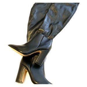 Black Pointed Toe Leatherette Knee High Boot